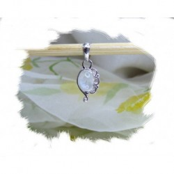 Anheng, Blossom -Lite sølvsmykke m/1 Hvit månestein