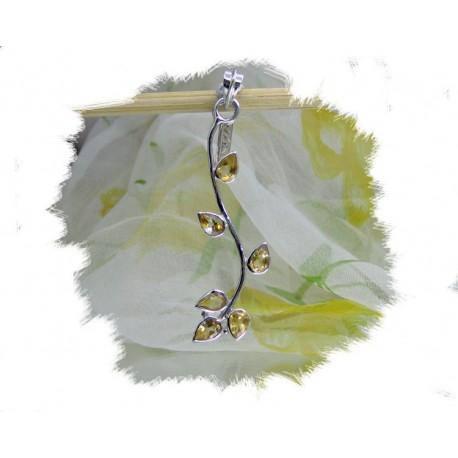 Anheng, Sommerdrøm - Sølv - gren m/blader av citrin