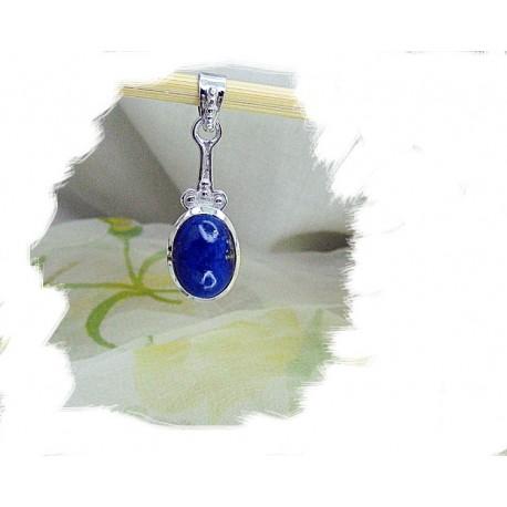 Anheng, Sølv m/Oval mørk blå Lapis