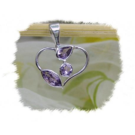 Anheng, Åpent hjerte - Sølv m/3 ametyst stener