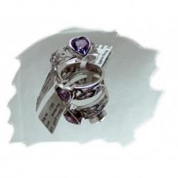 Sølvring m/hjerteformet ametyst