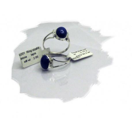 Sølvring med mørk blå lapis