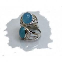 Sølvring m/blå chalcedony