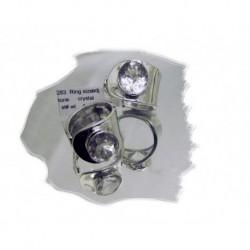 Sølvring m/krystall regulerbar