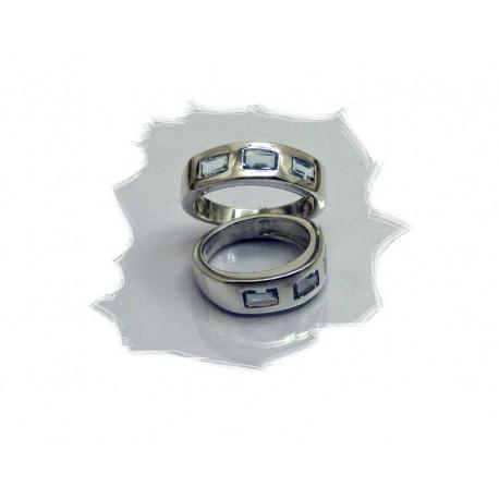 Sølvring m/3 stener, blå topas