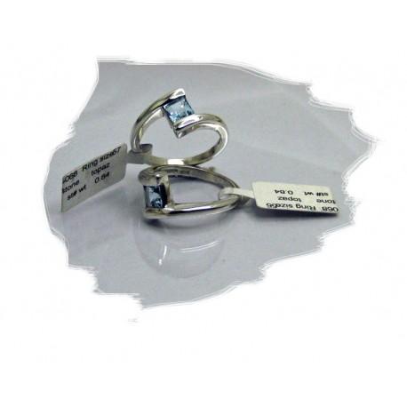 Sølvring m/firkantet blå topas