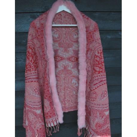 Pelsjal rød/rosa