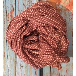 Bomullskjerf, rosa med polkadots
